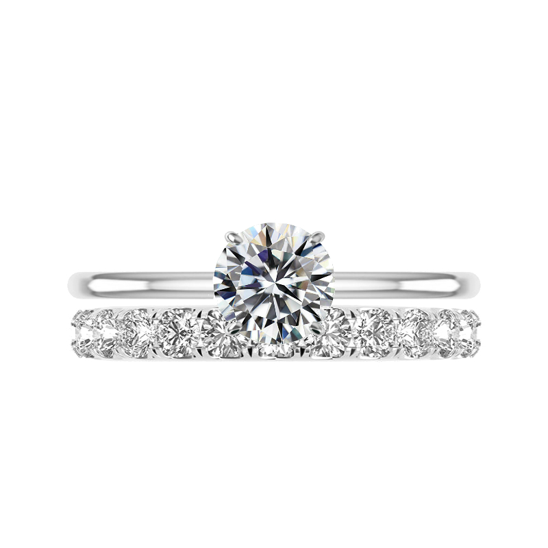 1.50 Carat Round Moissanite Solitaire & 3mm Diamond Eternity Band