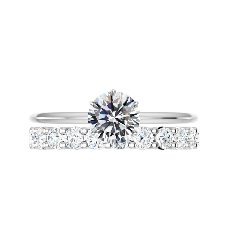 1.50 ct Round Moissanite Six Prong Solitaire & 2.8mm Diamond Eternity Band Set