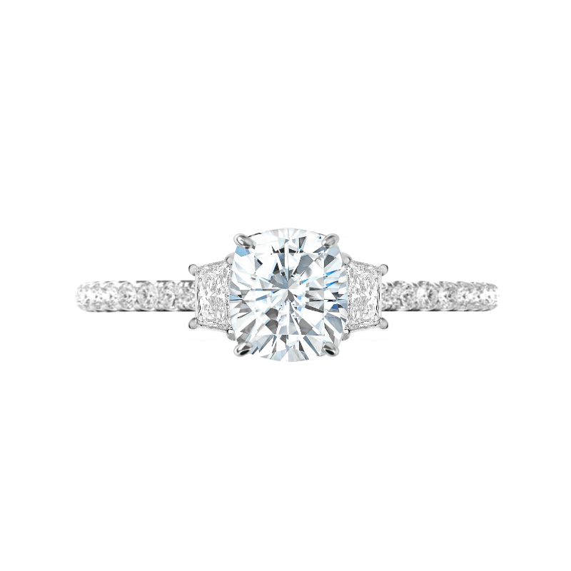 1.70 Carat Elongated Cushion Diamond & Trapezoid Three Stone Ring