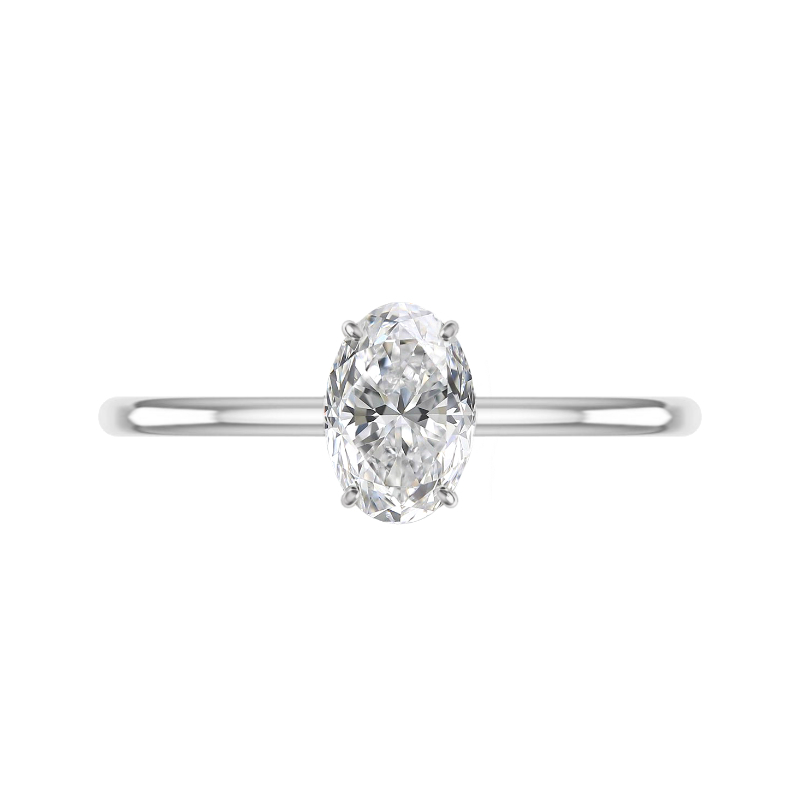 1.70 Carat Oval Diamond & Hidden Halo Solitaire Ring