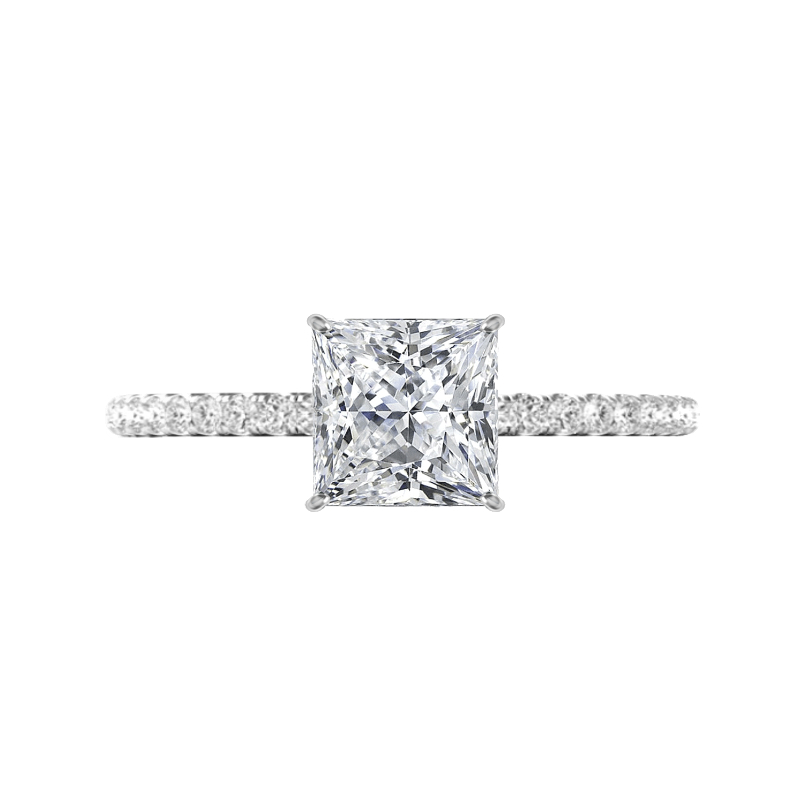 1.70 Carat Princess Lab Grown Diamond & Hidden Halo Ring