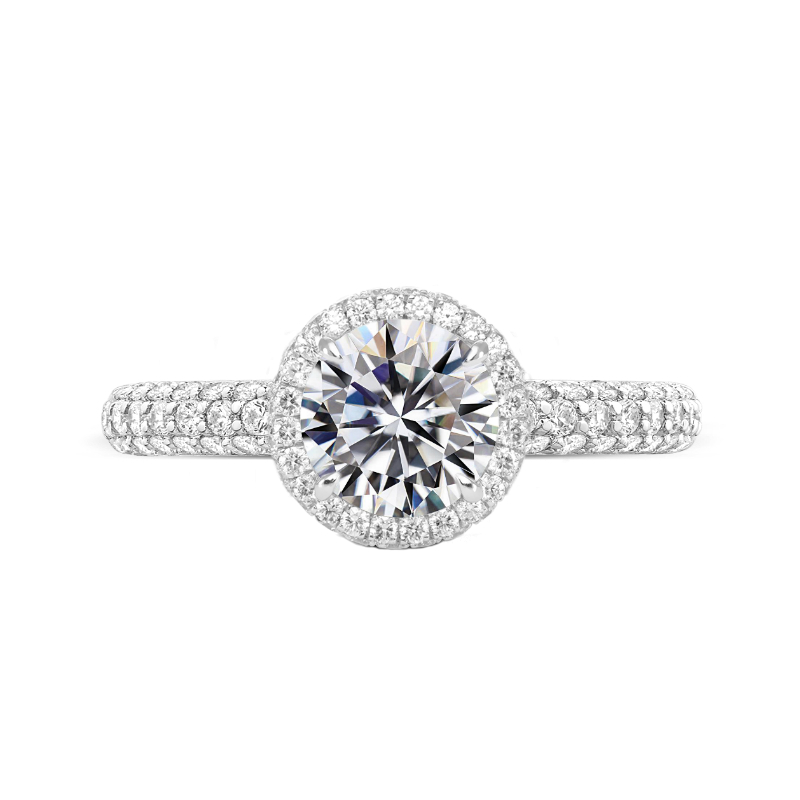1.70 Carat Round Diamond & Double Edge Halo Three Pave Ring