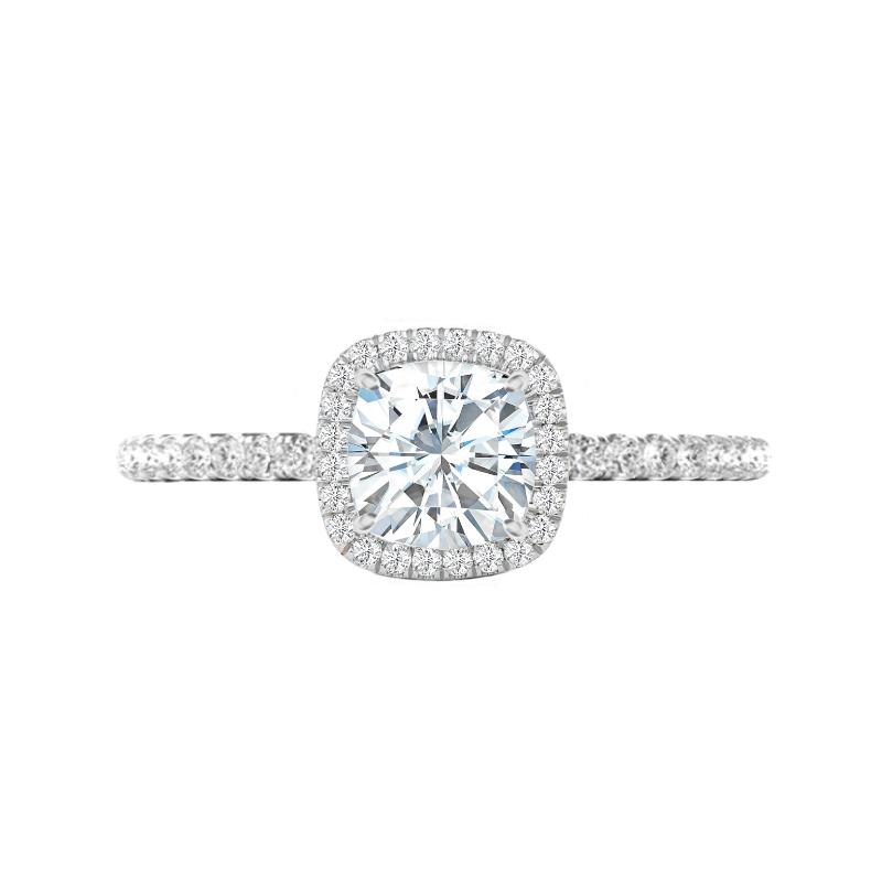 1.80 Carat Cushion Lab Grown Diamond & Double Edge Halo Ring