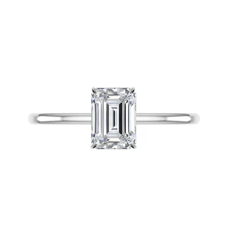 1.80 Carat Emerald Diamond Solitaire Ring