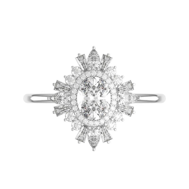 1.80 Carat Oval Diamond & Art Deco Halo Ring