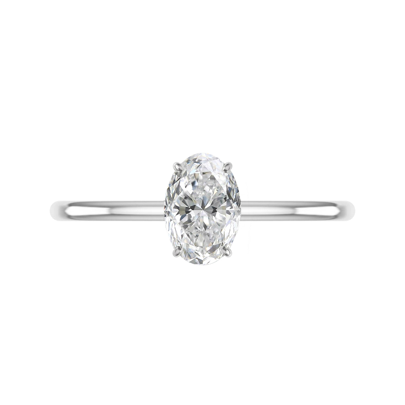 1.80 Carat Oval Lab Grown Diamond & Hidden Halo Solitaire