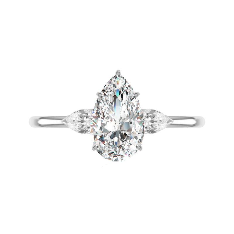 1.80 Carat Pear Diamond Three Stone Ring