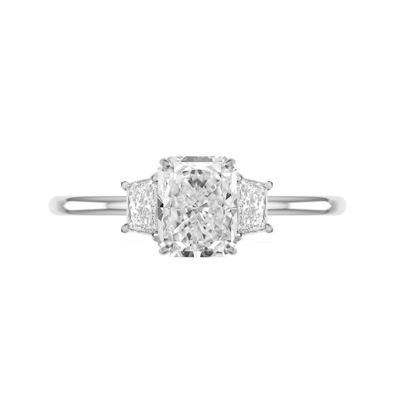 1.80 Carat Radiant Diamond & Trapezoid Three Stone Ring