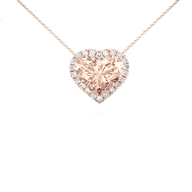 10 Carat Heart Morganite & Diamond Halo Necklace