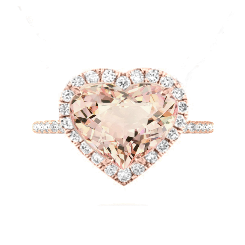 10 Carat Heart Morganite & Diamond Halo Ring