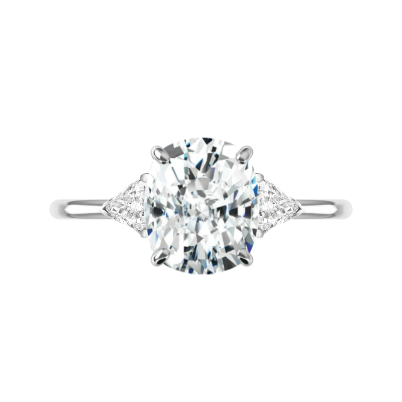 3.80 Carat Cushion Moissanite & Trillion Diamond Solitaire Ring