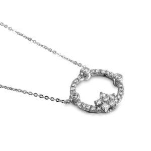 Diamond Circle Star Pendant Necklace