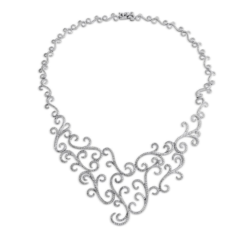 7.00 Carat Diamond Swirl Statement Necklace