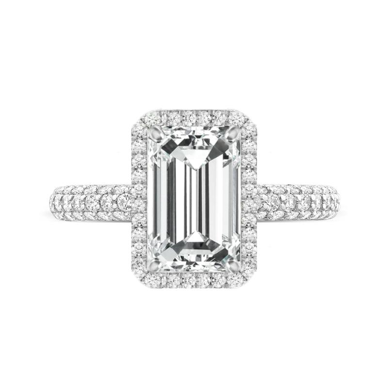 3 Carat Emerald Moissanite & Diamond Halo Three Row Ring