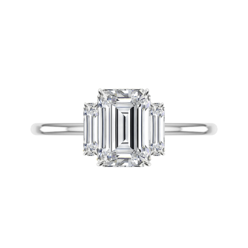 3 Carat Emerald Moissanite & Vertical Diamond Baguette Ring