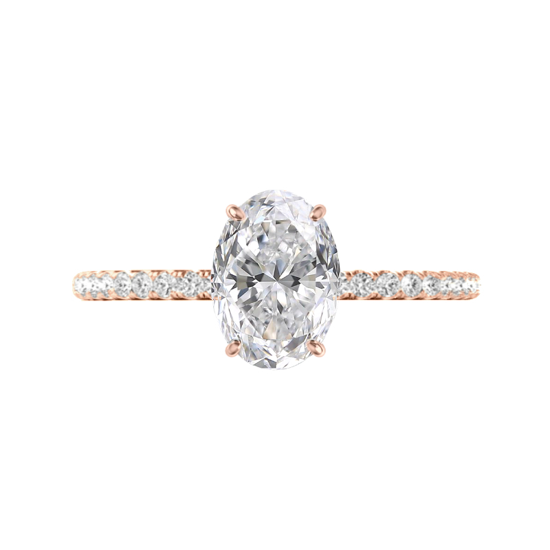 2.50 Carat Oval Moissanite & Diamond Hidden Halo Ring
