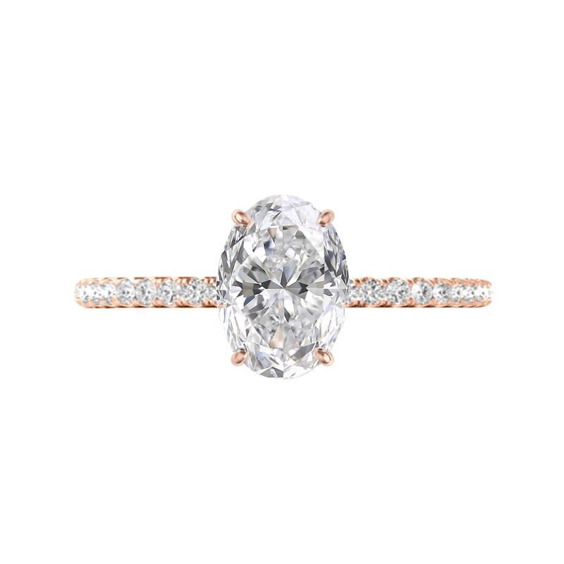 2.50 Carat Oval Moissanite & Diamond Hidden Halo Ring