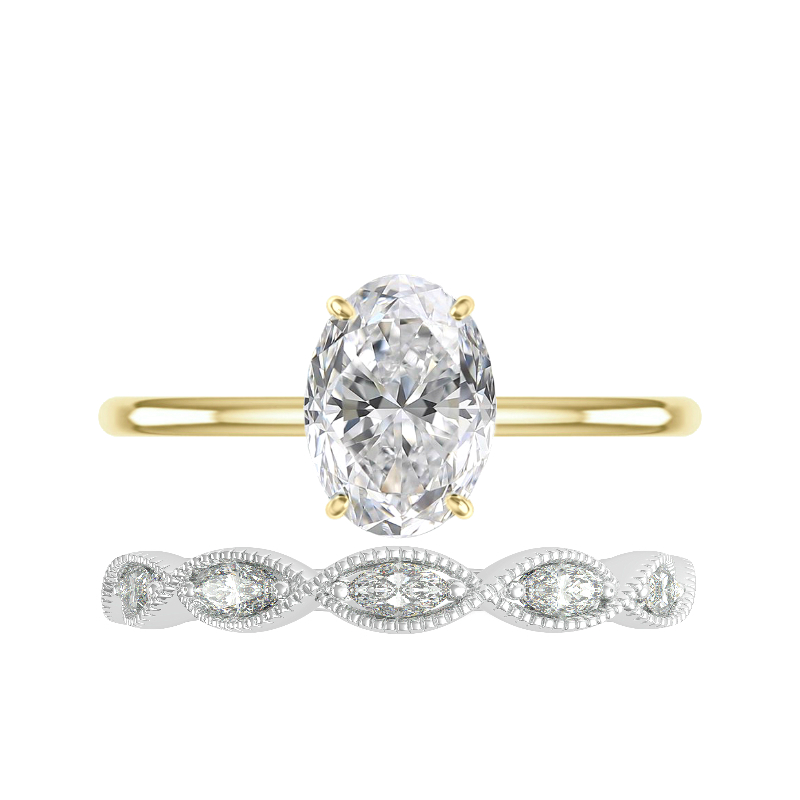 2.50 Carat Oval Moissanite Solitaire & Marquise Diamond Band