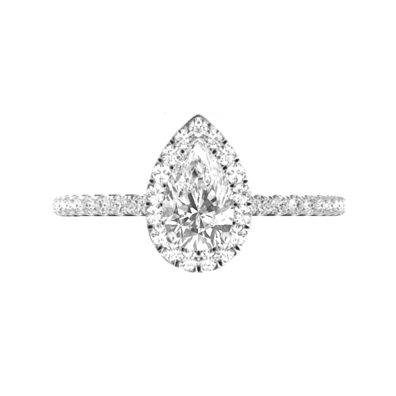 2 Carat Pear Diamond & Halo Engagement Ring