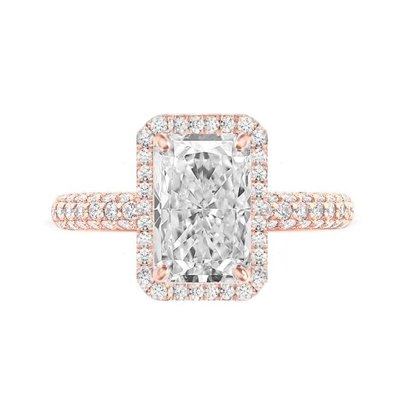 3 Carat Radiant Moissanite & Diamond Double Edge Halo Three Row Pave Ring