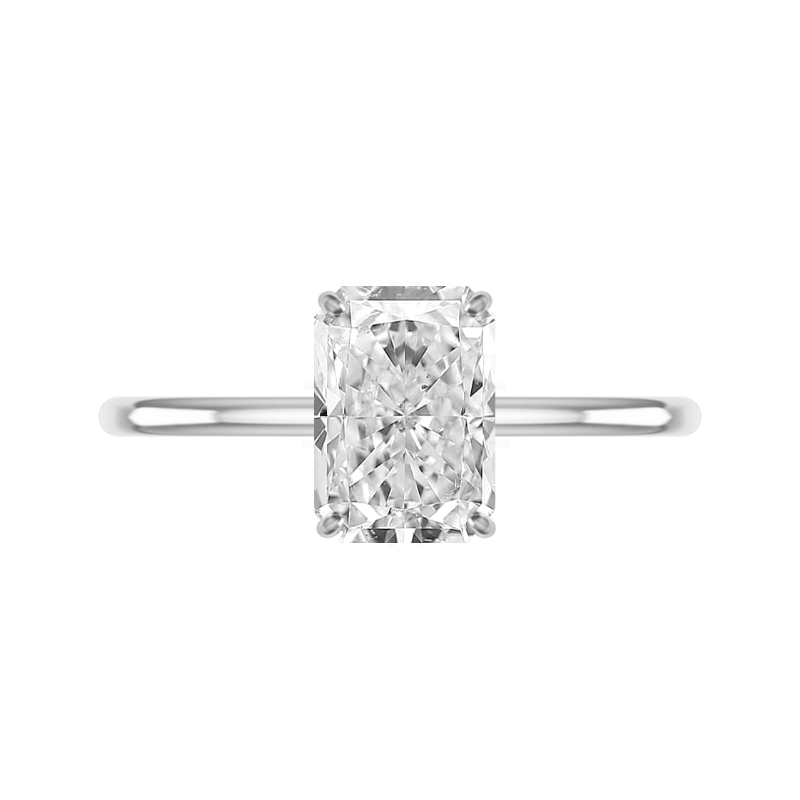 3.30 Carat Radiant Moissanite & Diamond Hidden Halo Solitaire