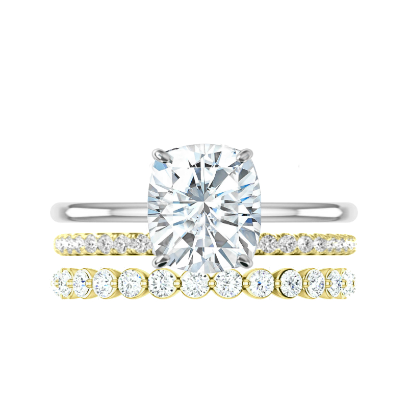 3.40 ct Cushion Moissanite Solitaire & Diamond Band Set
