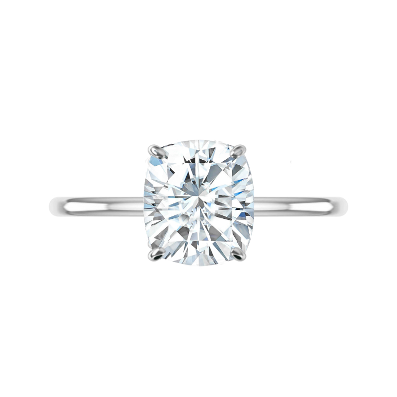 3.40 Carat Cushion Moissanite & Diamond Hidden Halo Solitaire