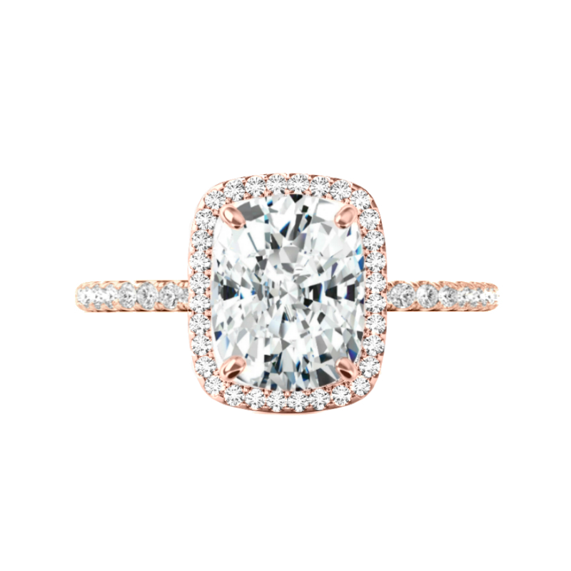 3.20 Carat Elongated Cushion Moissanite & Diamond Double Edge Halo Ring