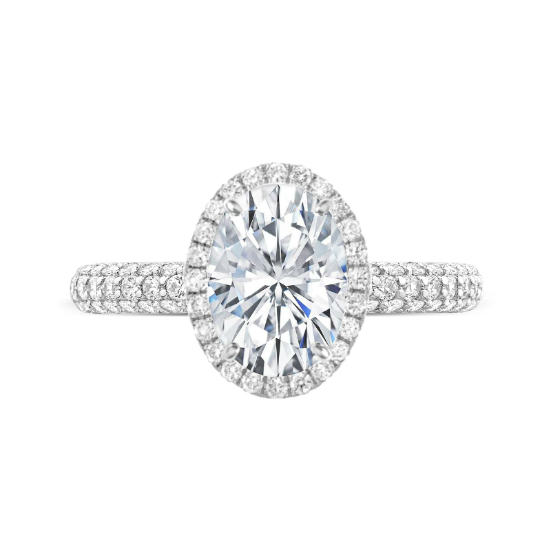 3 Carat Oval Moissanite & Diamond Double Edge Halo Three Row Pave Ring