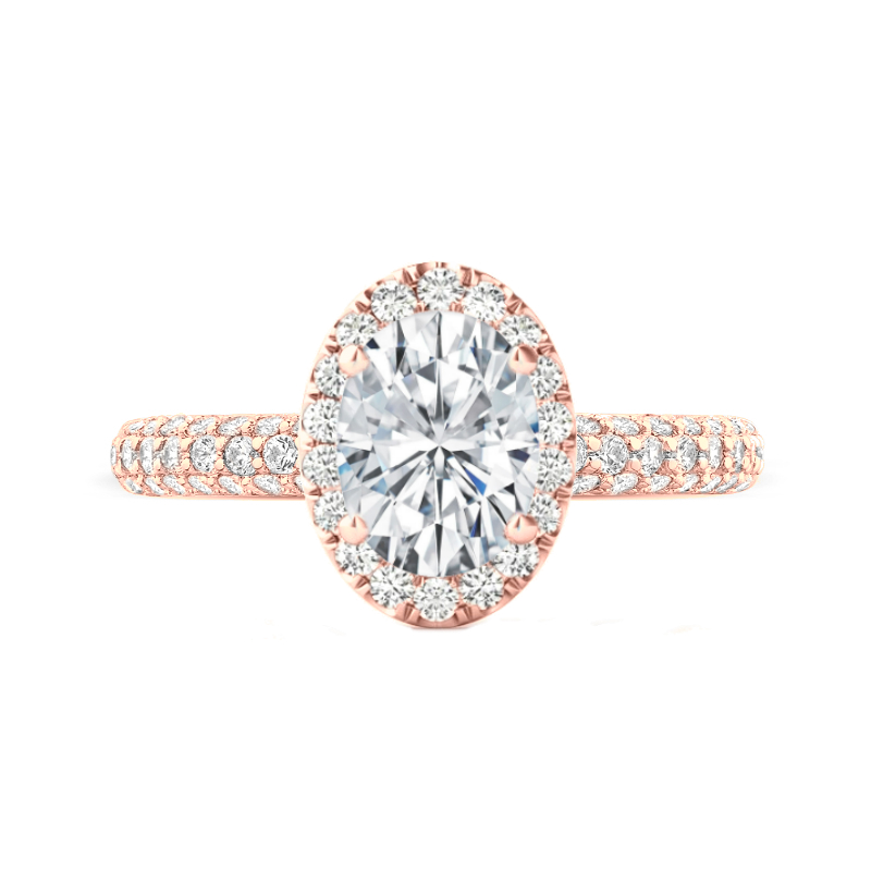 3 Carat Oval Moissanite & Diamond Halo Three Row Ring