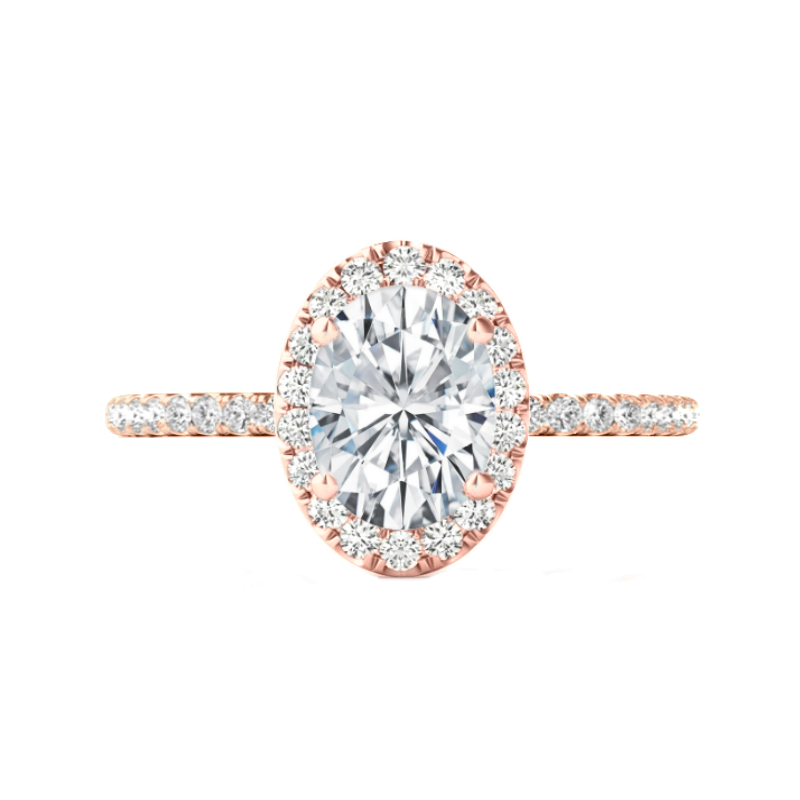 3 Carat Oval Moissanite & Diamond Halo Rose Gold Ring
