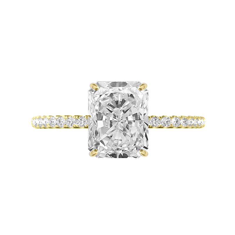 3.70 Carat Radiant Moissanite & Diamond Hidden Halo Ring