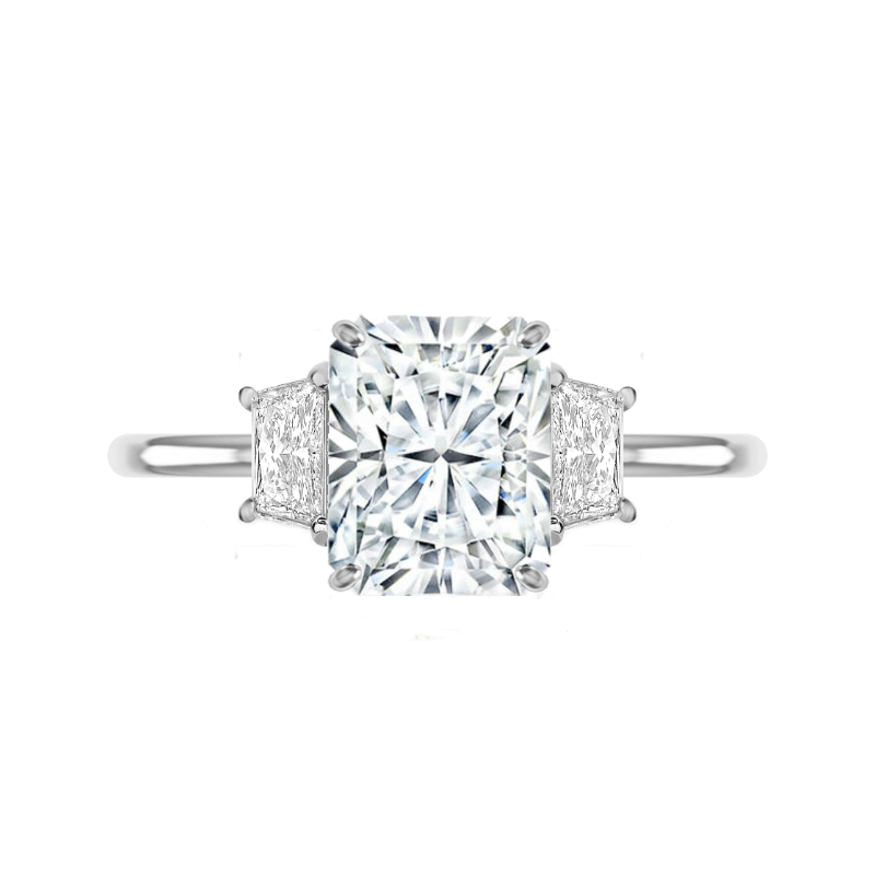 3.70 Carat Radiant Moissanite & Trapezoid Diamond Ring