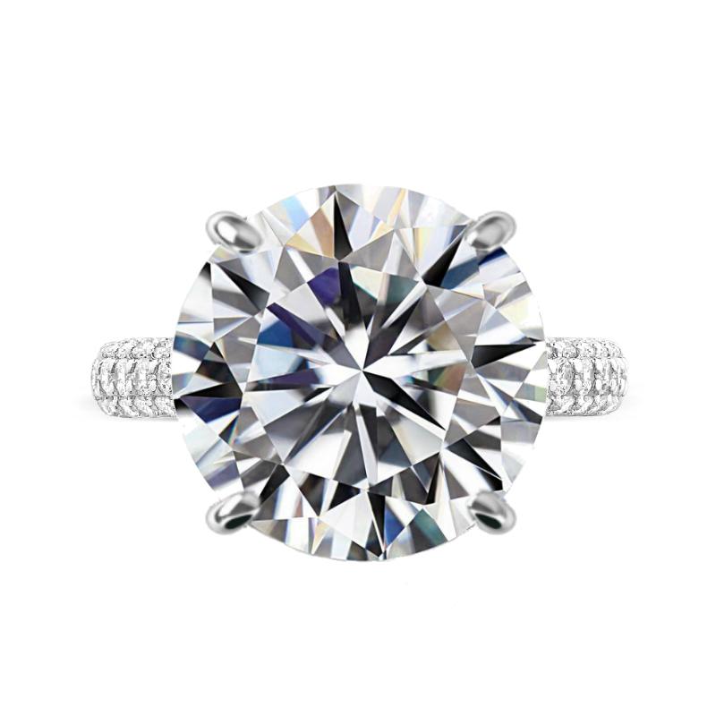 11 Carat Round Moissanite & Diamond Three Row Pave Ring