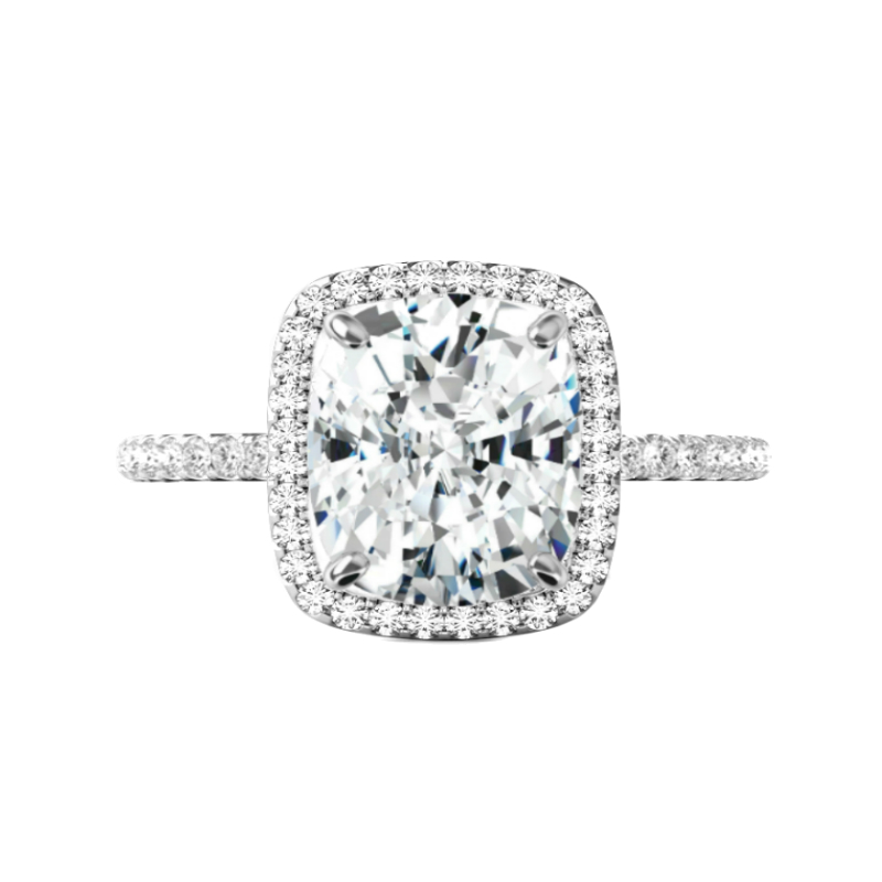 5.70 Carat Elongated Cushion Moissanite & Diamond Halo Ring
