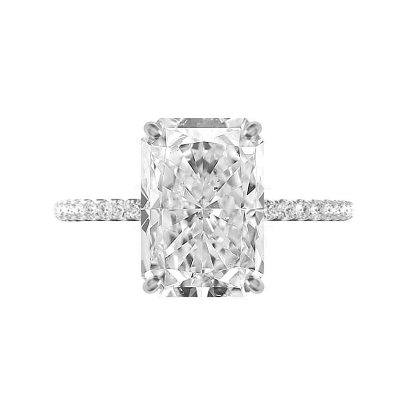 4.60 Carat Radiant Moissanite & Diamond Hidden Halo Ring