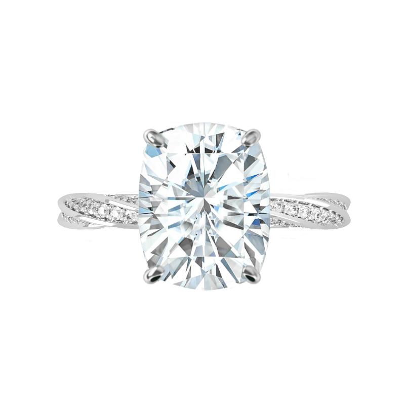 5 Carat Elongated Cushion Moissanite & Diamond Spiral Band Ring