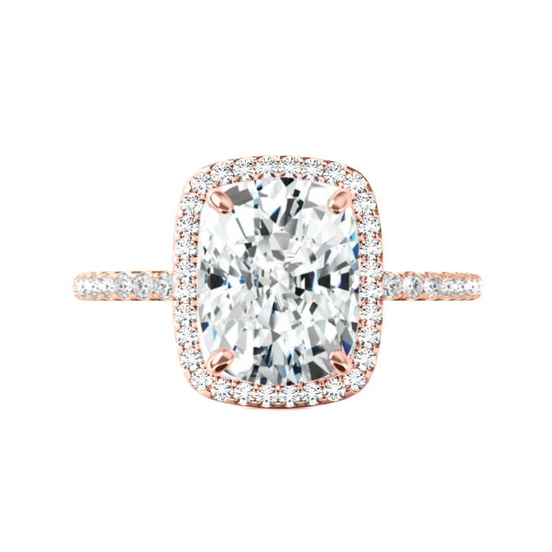 5 Carat Elongated Cushion Moissanite & Diamond Double Edge Halo Ring