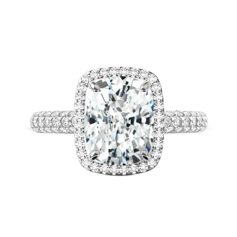5 Carat Elongated Cushion Moissanite & Diamond Halo Three Row Ring