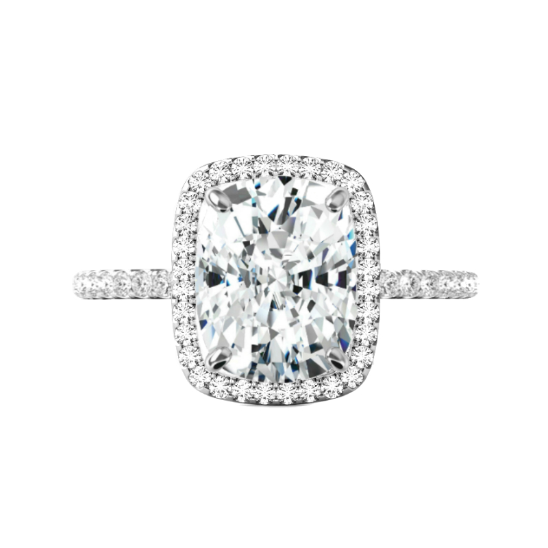 5 Carat Elongated Cushion Moissanite & Diamond Halo Ring