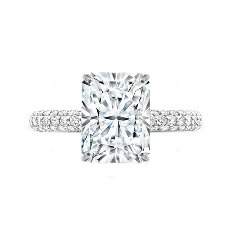 5 Carat Radiant Moissanite & Diamond Three Row Pave Ring