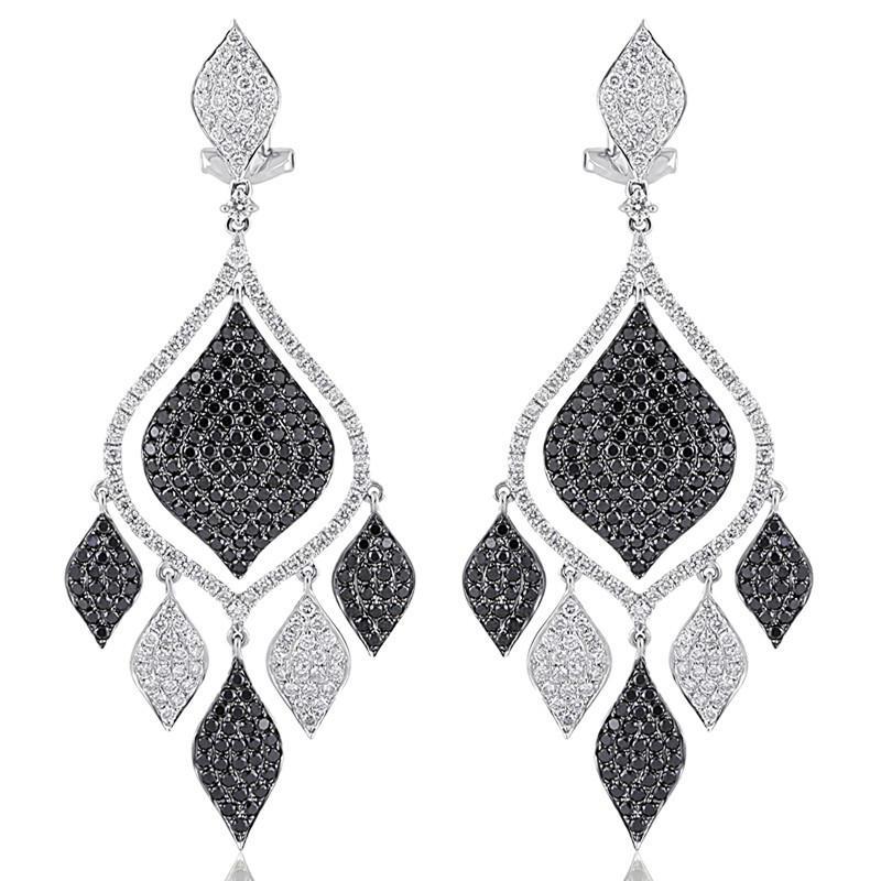 4.87 ctw Black Diamond & White Diamond Earrings 18k