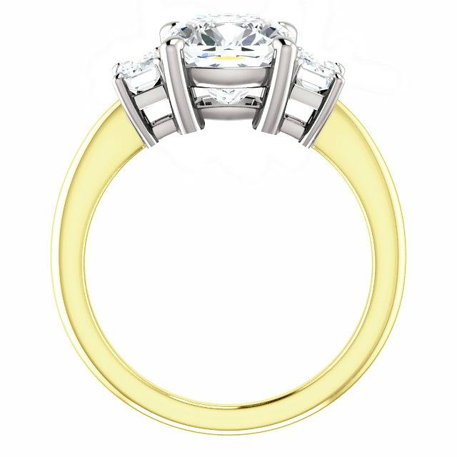 2.80 Carat Elongated Cushion Moissanite & Diamond Three Stone Basket Ring 14k Yellow Gold