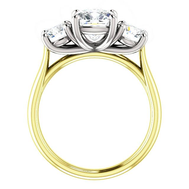 2.80 Carat Elongated Cushion Moissanite & Diamond Three Stone Trellis Ring 14k Yellow Gold