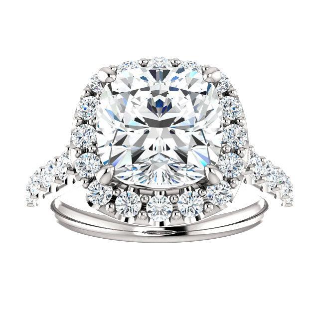3.50 Carat Cushion Forever One Moissanite & Diamond Halo Wedding Set