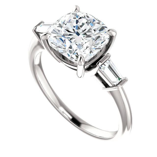 2.50 ct Cushion Moissanite & Diamond Baguette Ring