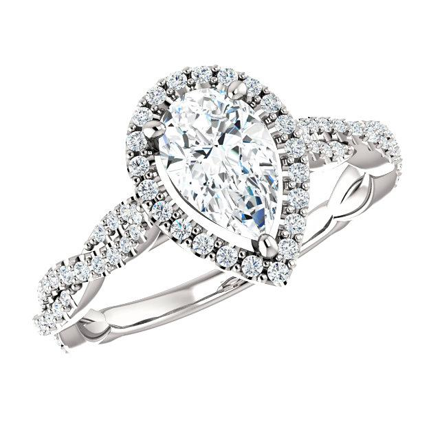 0.70 Carat Pear Diamond & Halo Twisted Shank Engagement Ring