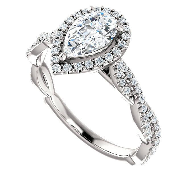0.70 Carat Pear Diamond & Halo Twisted Shank Engagement Ring