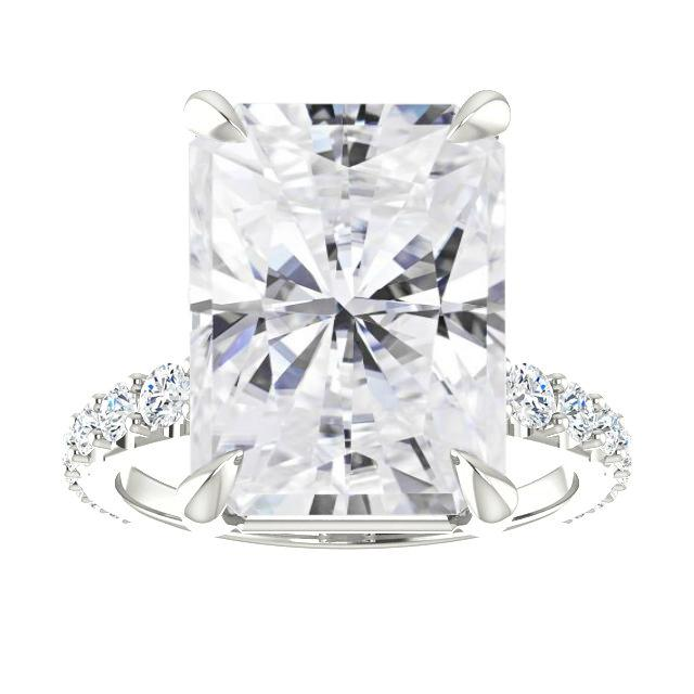 9.30 Carat Radiant Cut Forever One Moissanite & Diamond Hidden Halo Engagement Ring