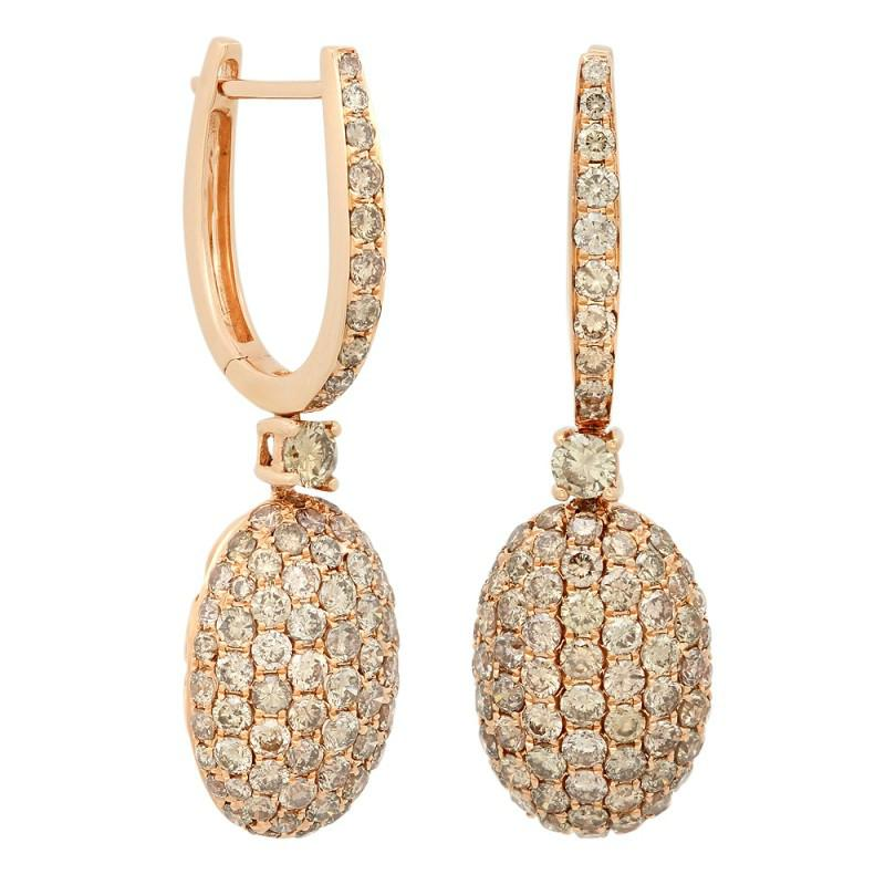 3.76 ct Brown Diamond Pave Dangle Earrings